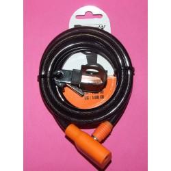 Antivol spiral à clé D10mmX1.80M avec support