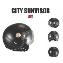 """Casque Jet """"CHOK CITY"""" SUNVISOR noir mat Double écran."""