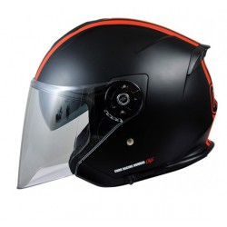 "Casque Jet ""CHOK CITY""  RDJ-RACING Noir/Rouge mat Double écran T59-60 (L)"
